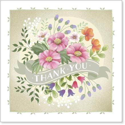 Floral,Thank,You,Card,buy thank you card online, flowers thank you card, floral thank you card, wild flowers card, bouquet thank you card, cards for thanks