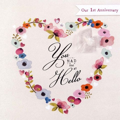 You,Had,Me,At,Hello,Our,First,Anniversary,Card,buy card for our first wedding anniversary online, wife first wedding anniversary card, 1st wedding anniversary card for husband, first anniversary card online, 1st wedding anniversary card, wedding anniversary card for husband, anniversary card for wife