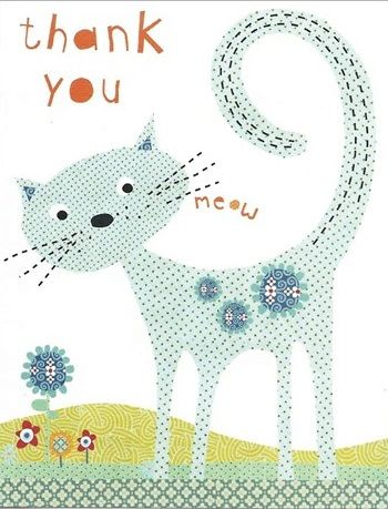 Pack of 5 Blue Cat Thank You Note Cards - product images