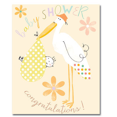 Stork Baby Shower Card - Mum To Be Card - product images
