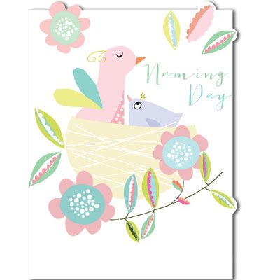 Birds,and,Nest,Naming,Day,Card,buy naming day card online, cards for naming days, christening card, naming day card, congratulations card