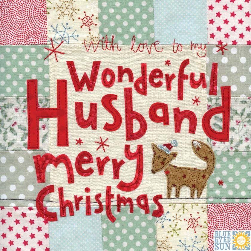 Wonderful Husband Fox Christmas Card - Large, luxury Christmas Card ...