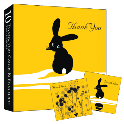 Boxed Set of 10 Thank You Notelets - Bunny Rabbit & Bees and Flowers - product images  of
