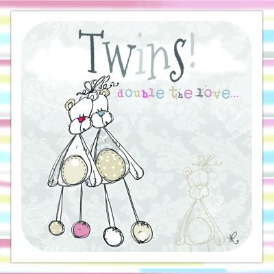 Twins,Double,The,Love,Card,-,New,Baby,buy twins card online, buy baby cards for twins online, new baby card for twins, congratulations on your new baby twins card, new arrival cards, new babies card