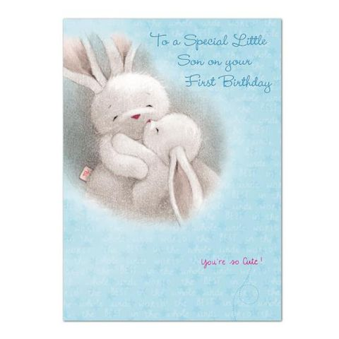 Bunny,Rabbits,Special,Little,Son,First,Birthday,Card,buy baby sons 1st birthday card online, buy special 1st brithday card online buy son first birthday card online, 1st birthday cards for sons, baby son age one birthday card, 1st birthday cards for son, baby son first birthday card, bebunni first birthday