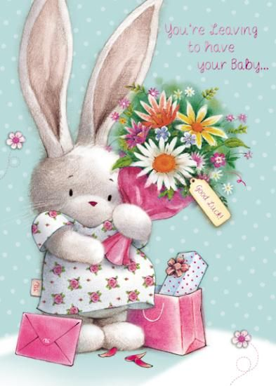 Bunny Rabbit Leaving To Have Your Baby Card - product images  of