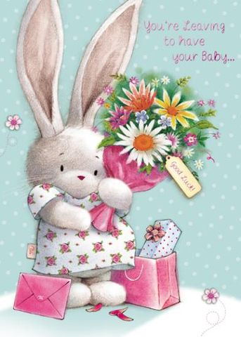 Bunny,Rabbit,Leaving,To,Have,Your,Baby,Card,buy leaving to have a  baby card online, large leaving to have a baby card, large leaving card, happy pregnancy card, leaving cards, mum to be card, parents to be card, baby news card, bebunni card