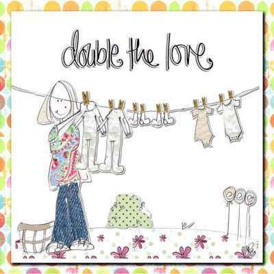 Double,The,Love,Twins,Card,-,New,Baby,buy twins card online, baby cards for twins, new baby card for twins, congratulations on your new baby twins card, new arrival cards, new babies card