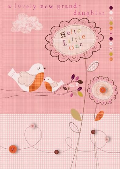 Hello Little One A Lovely New Granddaughter Card - Grandparents Congratulations Card - product images  of