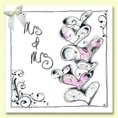 Hand,Finished,Mrs,and,Wedding,Card,buy mrs and mrs wedding day card online, buy civil ceremony cards online, mrs and mrs card, brides wedding card, civil partnership card for mrs and mrs, special couple wedding card, cards for weddings, cards for civil parnerships