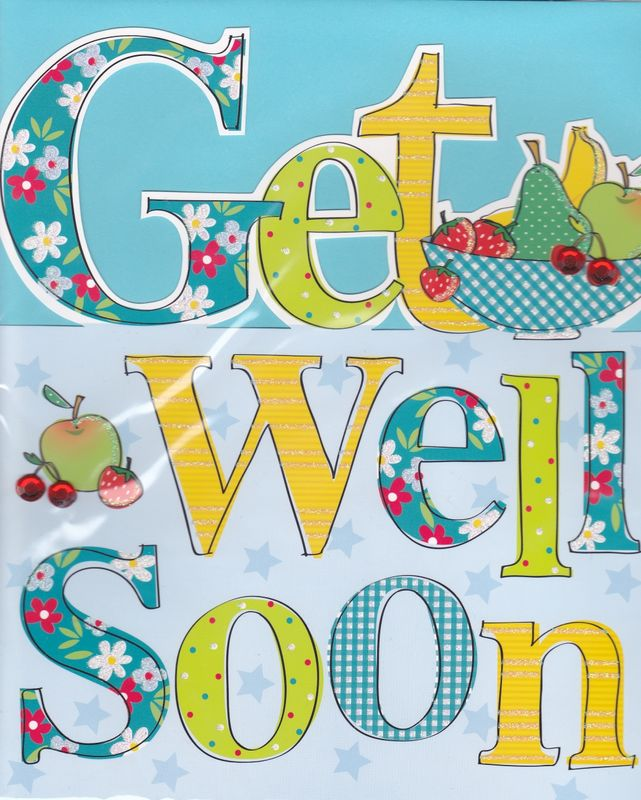Hand Finished Get Well Soon Card - Large, Luxury Card - product images  of
