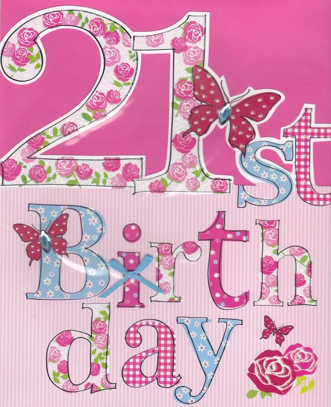Hand Finished Floral 21st Birthday Card - Large, Luxury Birthday Card - product images