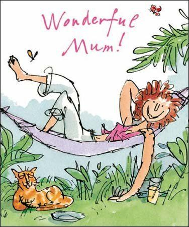 Quentin,Blake,Wonderful,Mum,Birthday,Card,buy quentin blake cards online, buy mum birthday cards online, mum card, cards for mums, wonderful mum birthday card, cat, hammock