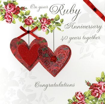 Hand,Finished,Ruby,Anniversary,Card,-,Large,,Luxury,buy large wedding anniversary cards online, buy large ruby anniversary cards, cards for fortieth anniversary, cards for 40th anniversary, ruby anniversary cards, handmade anniversay cards,