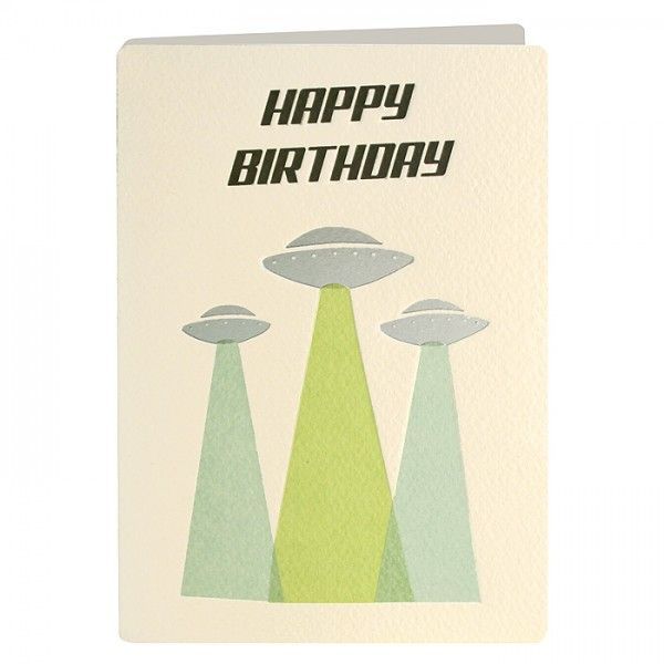 UFO Retro Birthday Card - product images