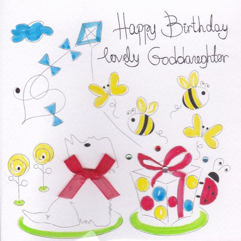 Hand,Painted,Goddaughter,Birthday,Card,buy god-daughter birthday card online, buy goddaughter birthday card online, god daughter cards, godchildren birthday cards, godchild birthday cards, cards for godchildren, hand painted, handmade, handcrafterd, hand finished, dog card, bumble bees, presen