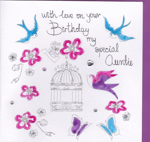 Hand,Painted,Special,Auntie,Birthday,Card,buy special auntie birthday card online, buy auntie birthday card online, my special auntie birthday cards, aunt birthday cards, aunty birthday cards, cards for aunties, hand painted, handmade, handcrafted, hand finished, birds card, birdcage, butterfly,