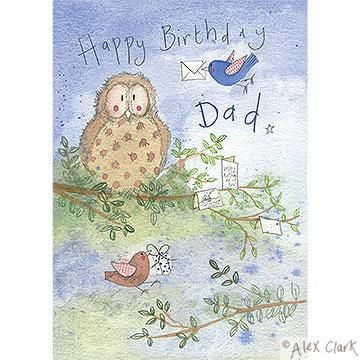 Dad Owl and Birds Birthday Card - product images