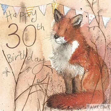 Fox,30th,Birthday,Card,buy 30th birthday cards online, thirtieth birthday cards, age thirty card, age 30 cards, fox 30th birthday cards, cards with foxes, fox card, bunting cards, special cards for 30th birthdays,