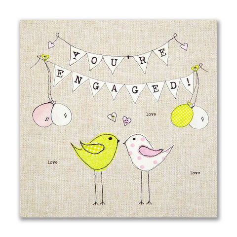 Hand,Finished,Love,Birds,You're,Engaged,Card,buy engagement cards online, buy you are engaged card online, buy special couple engagement card online, engagement cards, you're engaged card, cards for engagements, hearts engagement card, heart card