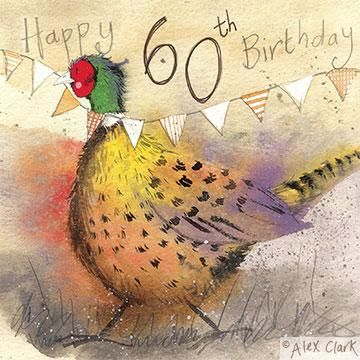 Pheasant,60th,Birthday,Card,buy 60th birthday cards online, sixtieth birthday cards, age sixty card, age 60 cards, pheasant 60th birthday cards, cards with pheasants, bird card, bunting cards, special cards for 60th birthdays,