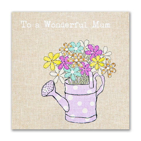 Hand,Finished,Wonderful,Mum,Card,buy mum birthday cards for her online, buy mothers day cards online, buy mothering sunday cards online, cards for mums, mummy cards, cards for mummies, cards for parents, watering can birthday card, mum flowers card, wonderful mum floral card, gardener ca