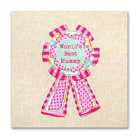 Hand,Finished,World's,Best,Mummy,Card,buy mummy birthday cards for her online, cards for mummies, mummy cards, worlds best mummy card, rosette card for mummy, buy mothers day cards online, buy mothering sunday cards online, cards for mum, cards for parents, flo