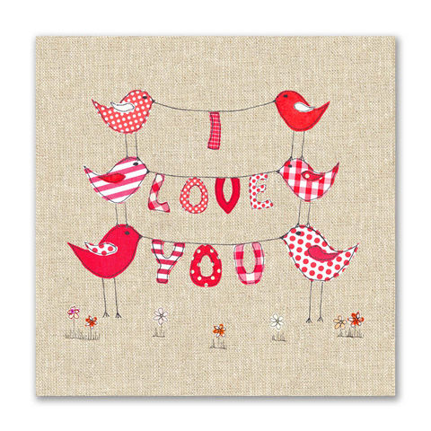 Hand,Finished,I,Love,You,Birds,Card,buy i love you valentine's day cards online, buy birds valentines cards online, buy embroidered valentines card online, i love you valentines day card, i love you bird valentines day card, bird love card, birds anniversary card, i love you card