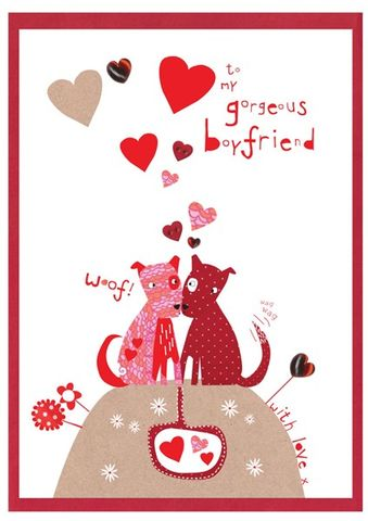 Hand,Finished,Gorgeous,Boyfriend,Card,buy boyfriend valentines day card online, buy valentine's day card for boyfriend online, gorgeous boyfriend card, card for boyfriend, valentine, card for valentine, love card, 14th february card, cards for valentines, dogs valentines card, heart valentine