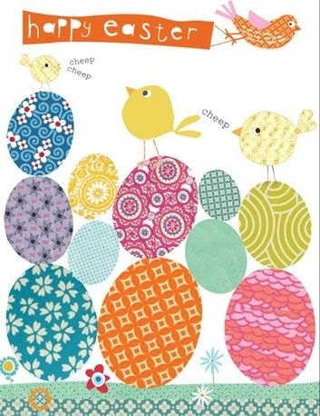 Pack of Five Easter Cards - Easter Eggs & Chicks - product images