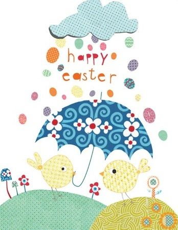 Pack of Five Easter Cards - Easter Chicks and Umbrella - product images