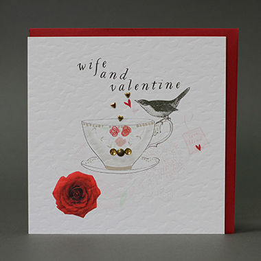Handmade,Wife,&,Valentine,Valentine's,Day,Card,buy handmade wife valentines day cards online, buy valentines day cards for wives online, wife and valentine card, cards for valentines day, bird, teacup, redrose, love blend, valentines day cards for special wife,