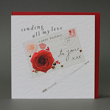 Handmade,Sending,All,My,Love,Postcard,Valentine's,Day,Card,buy handmade sending all my love to you valentines day cards online, buy valentines day cards with postcards, stamps valentines day card, postcard, roses, love letters valentine card, pencil valentines card, 14th feb valentines card, eiffel tower valentin