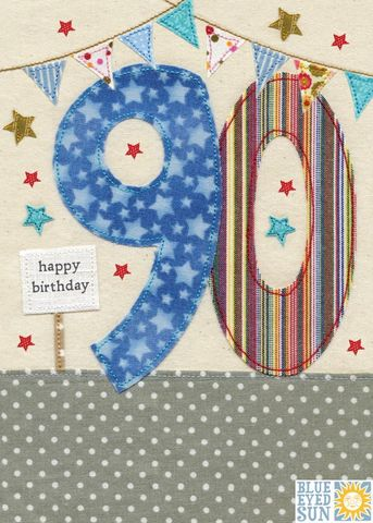 Stars,&,Bunting,90th,Birthday,Card,buy 90th birthday cards online, ninetieth birthday cards, age ninety card, age 90 cards, 90th birthday cards for him, stars age ninety birthday card, bunting age 90 card,