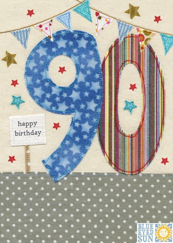 Stars Bunting 90th Birthday Card