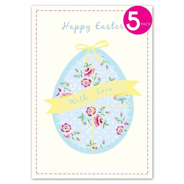 Pack of Five Easter Egg Easter Cards  - product images