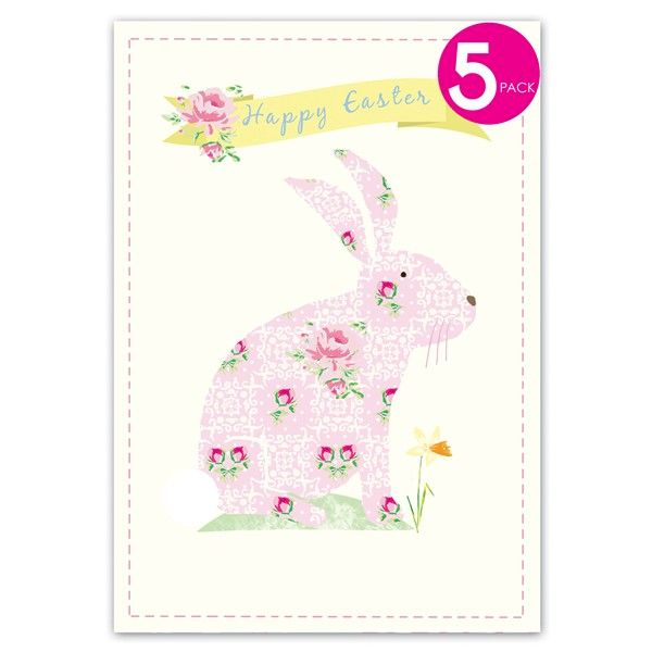 Pack of Five Floral Easter Bunny Easter Cards  - product images