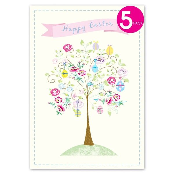 Pack of Five Decorated Tree Easter Cards  - product images