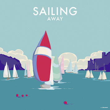 Sailing,Away,Blank,Greetings,Card,buy blank greetings cards online, buy boat cards online, cards with boats, cards with yachts, yacht cards for him, seaside cards, castle cards, sailing away cards, cards for sailing away, bon voyage cards, cards for bon voyage, sails,