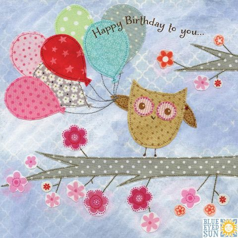 Owl,&,Balloons,Birthday,Card,buy owl birthday card online, buy birthday cards with owls online, buy birthday cards for her online, female birthday cards, girls birthday cards, floral birthday card, birthday balloons card, cards with balloons, tree birthday cards, bird birthday cards