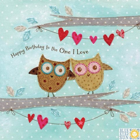 Owls,&,Bunting,To,The,One,I,Love,Birthday,Card,buy owl birthday card online, buy birthday cards with owls online, buy birthday cards for her online, buy birthday cards for the one i love, to the one i love birthday cards, love birthday cards for men, love birthday cards for women, to the one i love ca