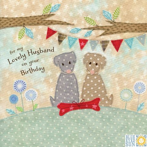 Dogs,&,Present,Lovely,Husband,Birthday,Card,buy husband birthday cards online, buy birthday cards for husbands, husband cards, dog cards for husbands, dog birthday card for husband, husband birthday card with dogs, hubby birthday card, dogs, dog, present, bunting birthday cards for him