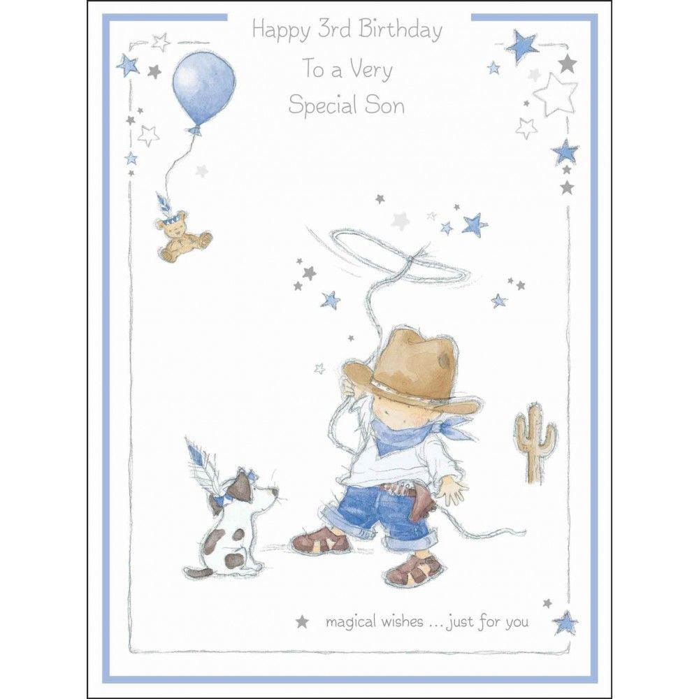 Large Son 3rd Birthday Card