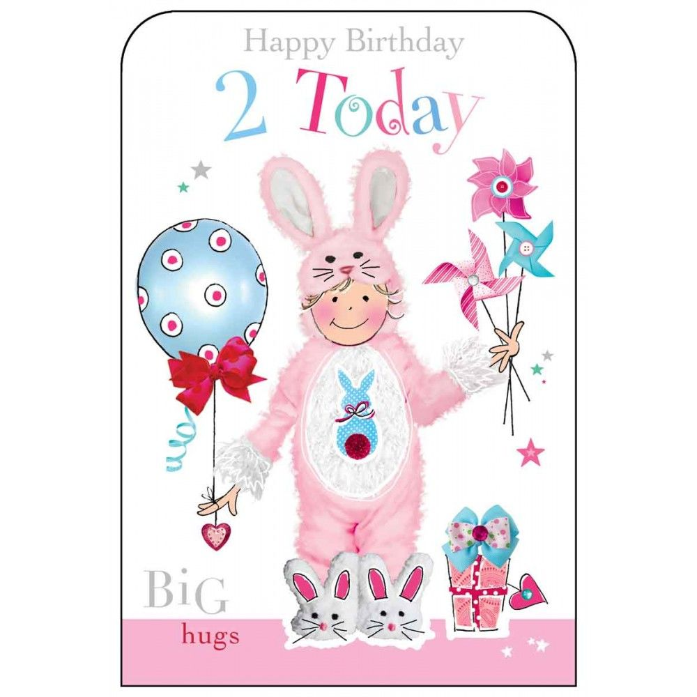 Happy Birthday 2 Today Girls Birthday Card Karenza Paperie
