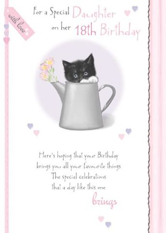 To,A,Special,Daughter,On,Her,18th,Birthday,Card,buy daughter 18th birthday card online, buy 18th birthday cards for daughters online, kitten 18th birthday card, card for 18th, eighteenth birthday card, age eighteen card, age 18 card, 18th birthday cards for daughters, daughter eighteenth birthday card