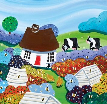 Cottage,And,Beehives,Blank,Greetings,Card,buy new home cards online, cards for new homes, buy blank greetings cards online, cottage blank greetings card, blank greetings cards with cottages, cows, beehives, bumble bees, hens, chickens, countryside,