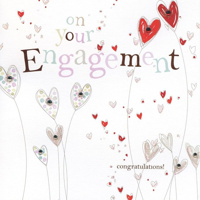 Hand Finished Hearts Engagement Card - product images