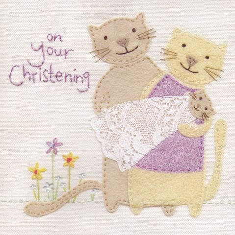 Hand,Finished,Cat,Family,Christening,Card,buy christening card online, buy cards for christenings online, buy baby's christening day card online, kitten christening day, cats christening day card, new baby card, card for baby, rabbit card, hand finished, christening day card, baby's christening c