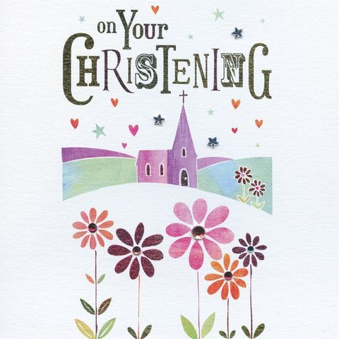 Hand,Finished,On,Your,Christening,Card,buy christening card online, buy card for baby's christening day online, new baby card, card for baby, christening card with church, hand finished, christening day card, baby's christening card, card for baby's christening