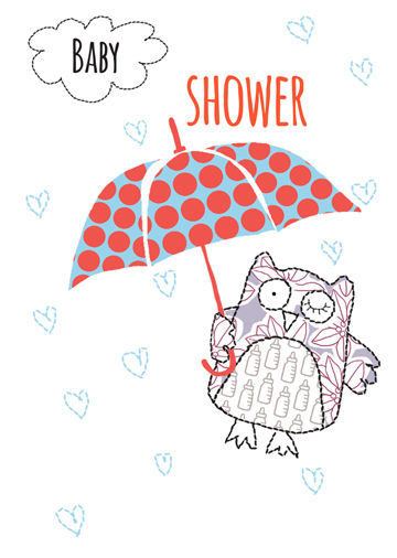 Owl and Umbrella Baby Shower Card - product images